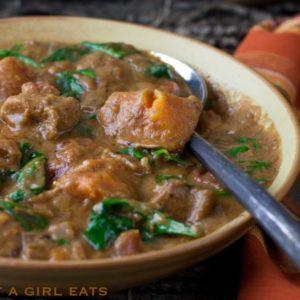West African peanut chicken stew. @whatagirleats.com