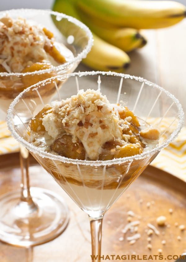 Nutty coconut banana ice cream sundaes - A tropical twist on the New Orleans dessert, Bananas Foster. Bananas caramelized with rum are the base! Recipe from @whatagirleats