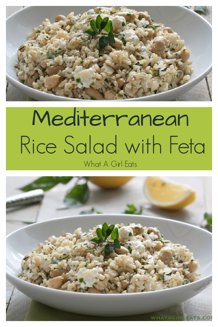 Mediterranean brown rice salad with feta and fresh herbs tossed in a light lemon and olive oil dressing.