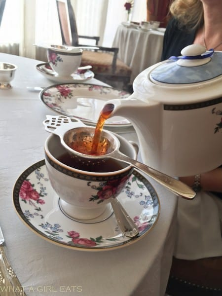 The first pour of tea.