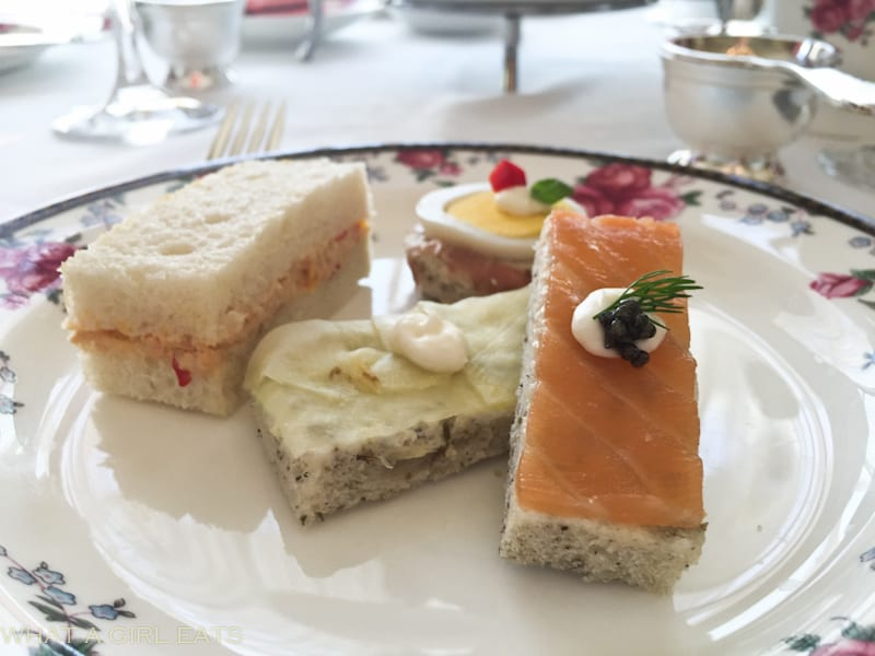 selection of tea sandwiches including, smoked salmon with ...
