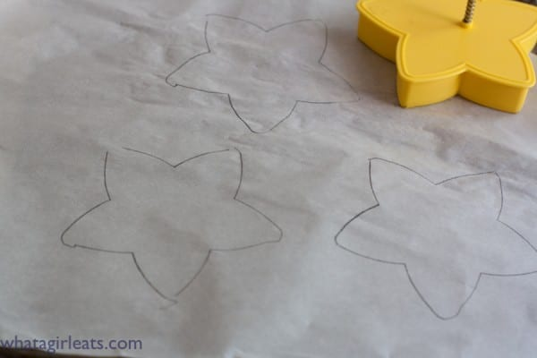 Use any shape and trace on parchment paper using a pencil.