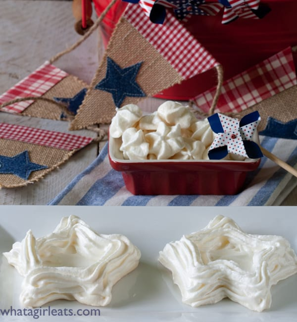 Star meringues, ready to fill. Put out shells and bowls of ice cream or whipped cream and assorted fruit and let guests fill their own!