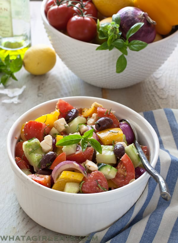 Greek Salad with fresh herbs and feta.