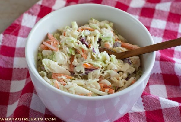 Creamy cole slaw, the perfect picnic side dish! | WhatAGirlEats.com