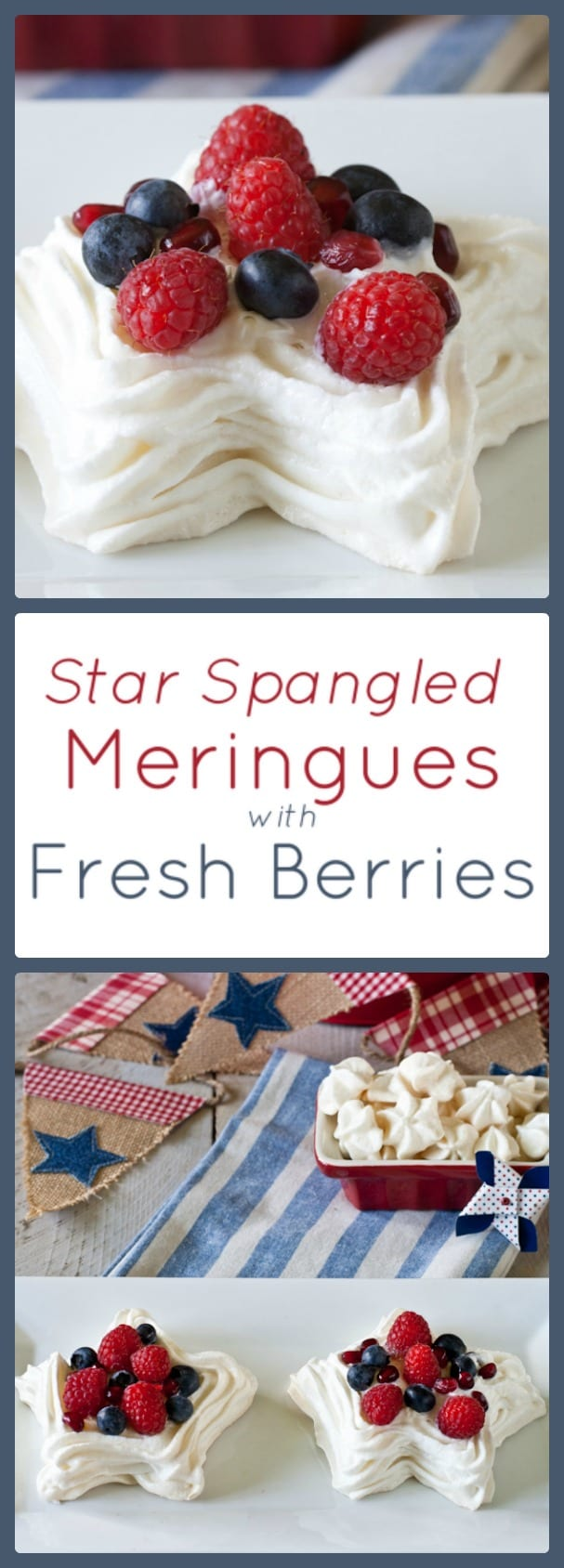 Star Spangled Meringues are filled with fresh berries. They're gluten free!