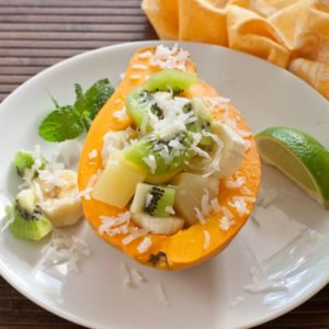 The perfect Balinese breakfast; papaya, pineapple and kiwi with lime and coconut.