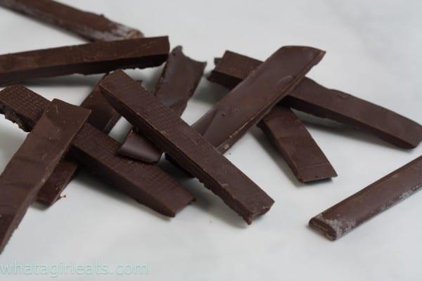 My homemade chocolate batons next to the Callebaut baton, lower right.