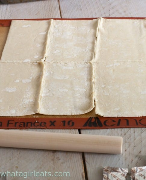 Place the thawed puff pastry on a sheet of parchment or a silpat baking sheet. The folds make natural divisions.
