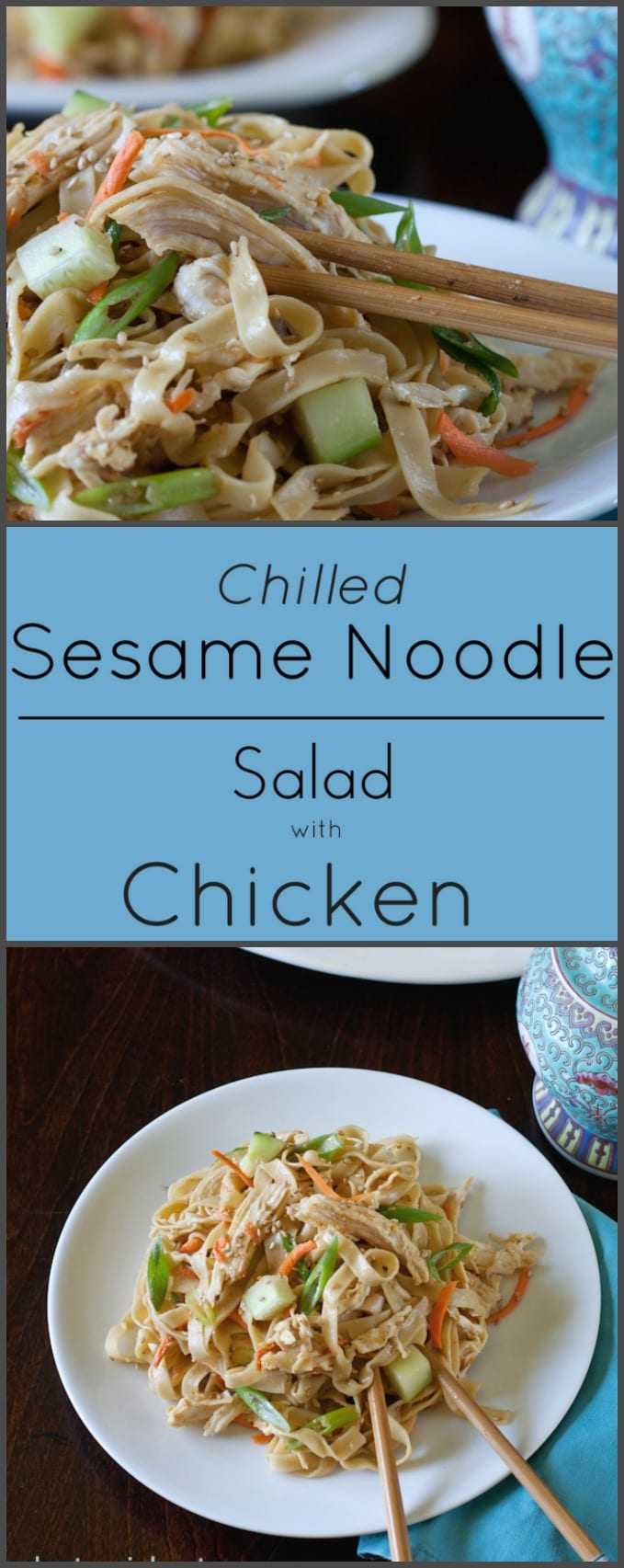 This cold Sesame Noodle Salad with Chicken is loaded with vegetables and flavors!