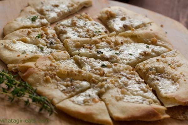 Pear-Walnut Gorgonzola Pizza - Get the recipe from WhatAGirlEats.com