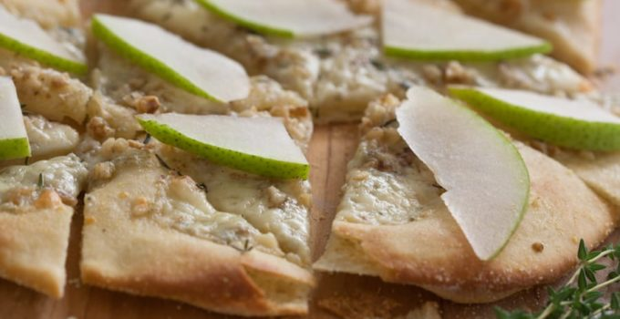 Gorgonzola And Walnut Pizza With Pears And Fresh Thyme
