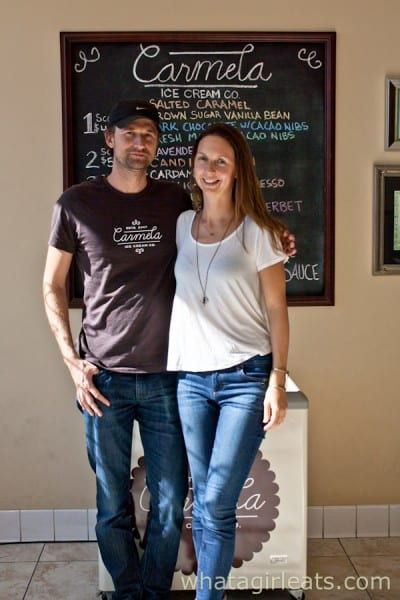 Zachary Cox and Jessica, owners of Carmela Artisan Creamery, Altadena, California.