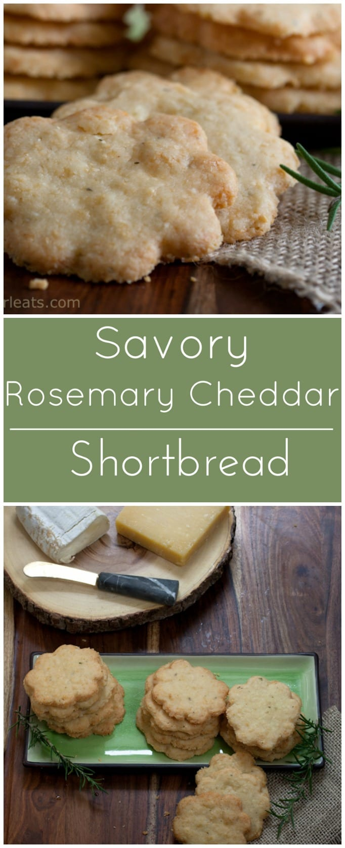 These Savory Rosemary Cheddar Shortbread are the perfect addition to any hors d'oeuvres tray or cheese platter.