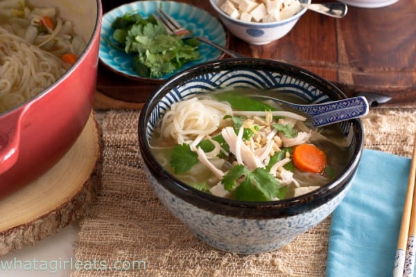 Singapore Hot Pot is loaded with fresh vegetables, shirataki noodles and tofu. Add condiments to your bowl to make it spicy, sweet, or salty to your taste.