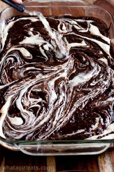 Creamy cheesecake batter is swirled into the rich brownie batter.