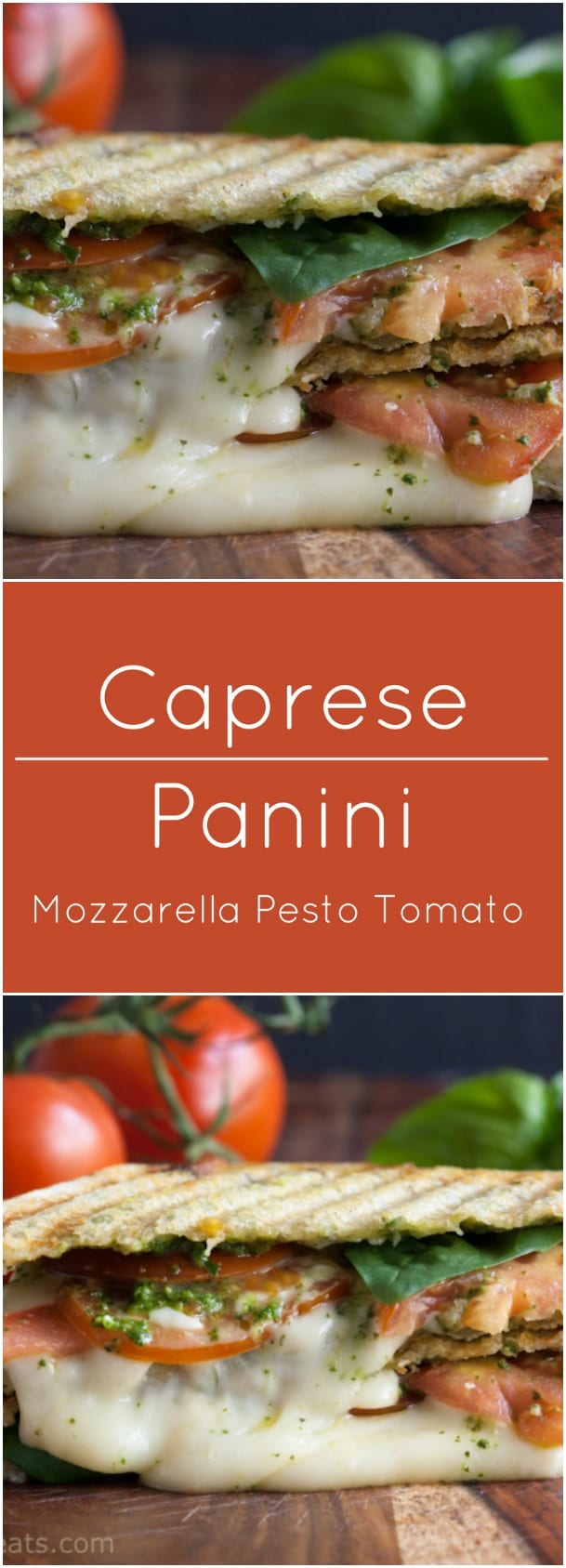 Grilled Caprese Panini with mozarella, pesto and tomatoes.
