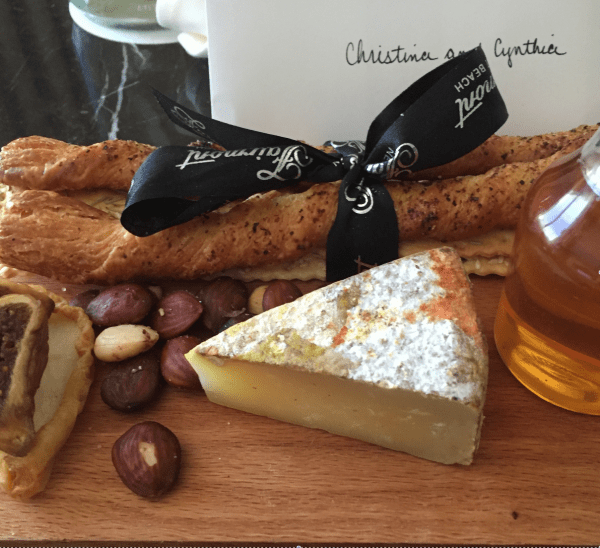 "Artisan cheese, crackers, bread sticks and the Fairmont's own ""house"" honey!."