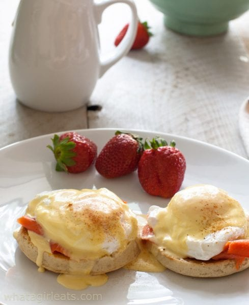 Eggs Royale, poached eggs with smoked salmon and hollandaise sauce.