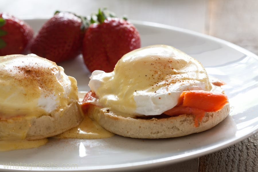 Eggs Royale; English muffins topped with smoked salmon, soft poached eggs and Hollandaise sauce.