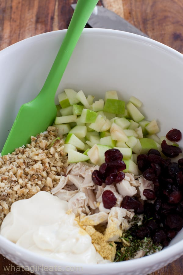Ingredients for chicken salad with cranberries, walnuts and apples