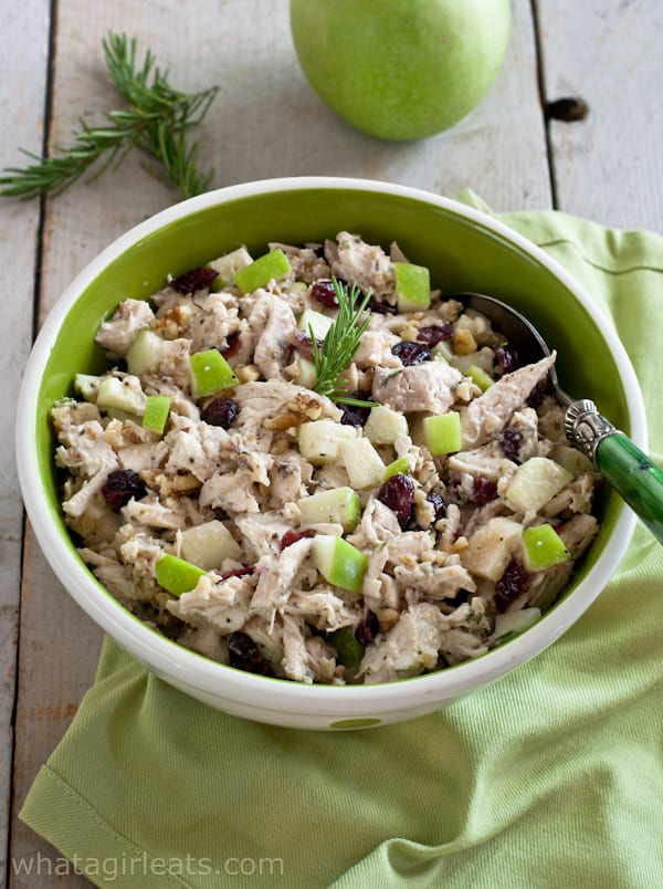Cranberry Walnut Chicken Salad - Delicious chicken salad with cranberries, walnuts, tart apples and rosemary. Naturally gluten free!