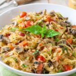 Whole30 Tomato Mushroom Spaghetti squash with basil. Vegan and gluten free!. Vegan and gluten free!