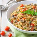 Paleo Spaghetti Squash with mushrooms, tomatoes and basil. Vegan and gluten free!