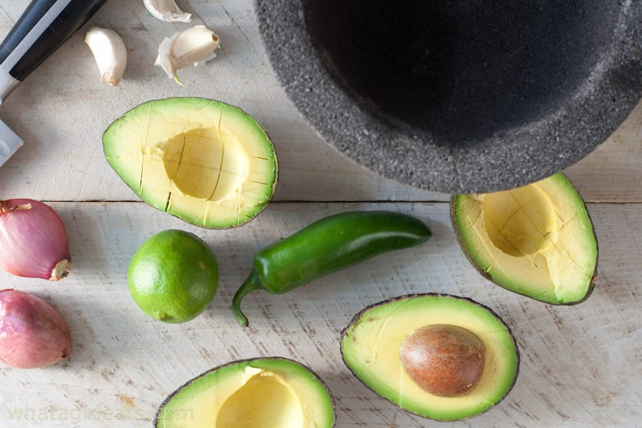 Avocados, shallots, jalapeño, lime and garlic go into this spicy guacamole