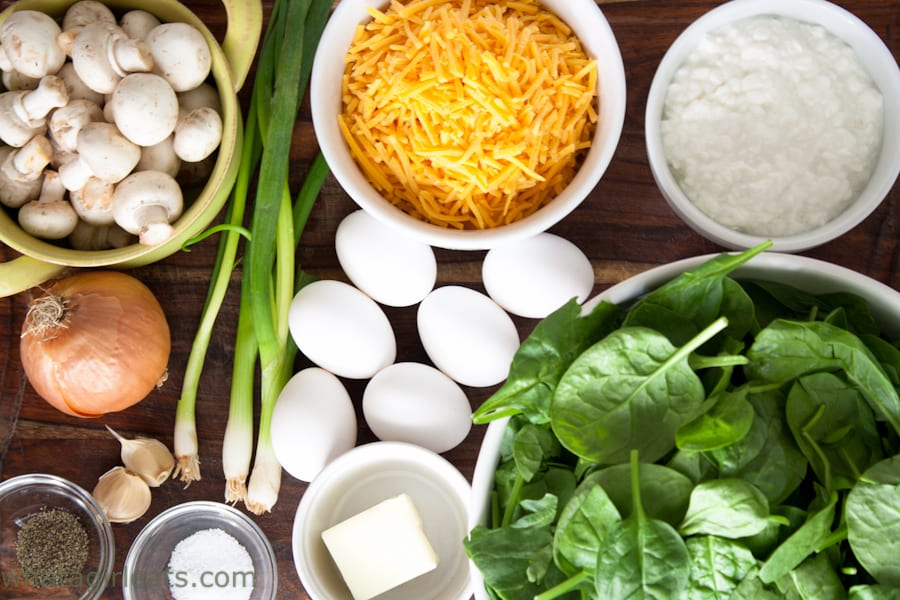 Ingredients needed to make spinach and mushroom breakfast casserole.