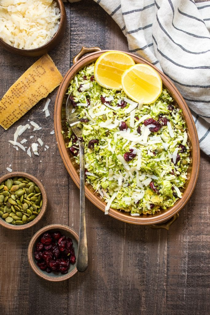 Shaved Brussels Sprouts Salad with Pepitas, Apricots and Avocado. Photo credit: The Girl in the Little Red Kitchen.