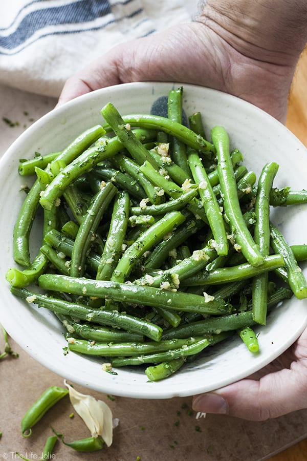 Healthy side dishes. Nanou's Garlic Green Beans. Photo credit: The Life Jolie.