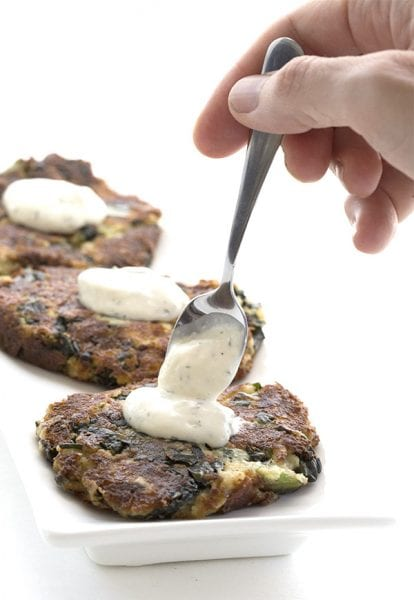 Cheesy Kale and Cauliflower Fritters. Photo courtesy of All Day I Dream About Food.