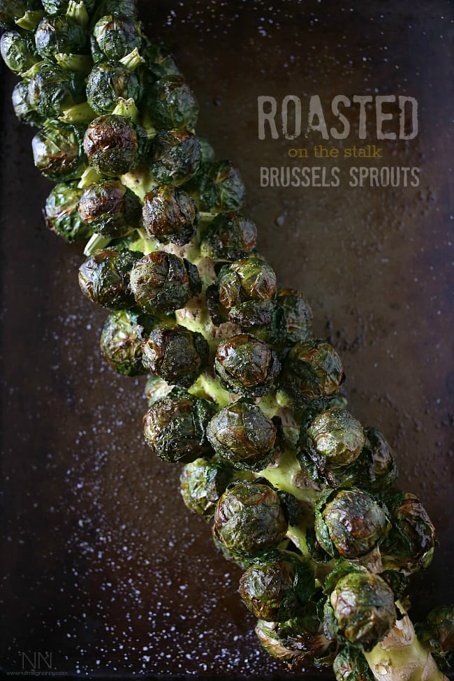 On-the-stalk Roasted Brussels Sprouts. Photo credit: Nutmeg Nanny.
