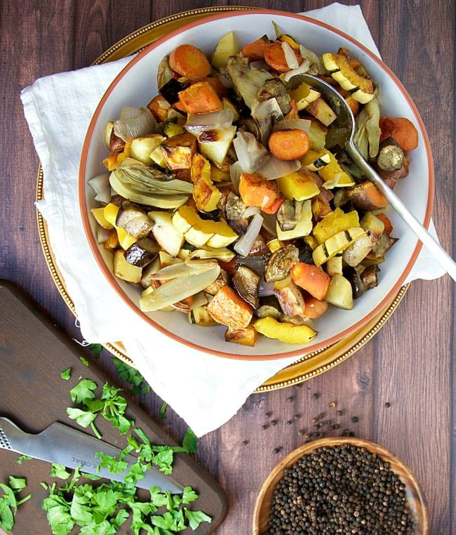 Healthy Side Dish. Simple Roasted Fall Vegetables. Photo credit: Pinch and Swirl.