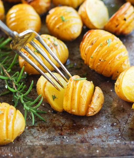 Rosemary Roasted Hassleback Potatoes. Photo credit: Home and Plate.