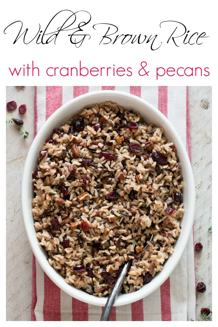 Brown and wild rice is tossed with cranberries and toasted pecans for a delicious autumn side dish.