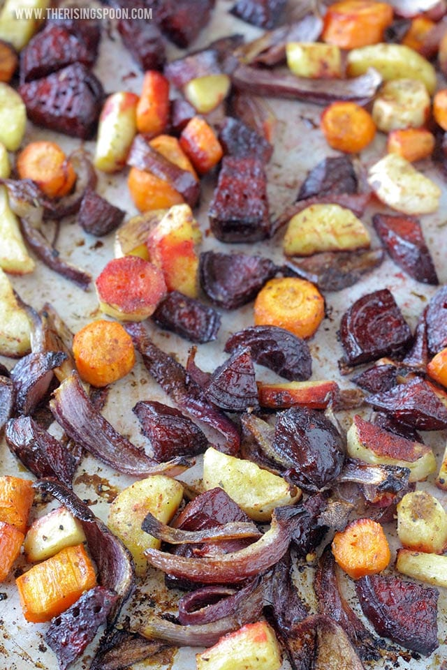 Healthy side dishes. Balsamic Oven Roasted Root Vegetables. Photo credit: The Rising Spoon.