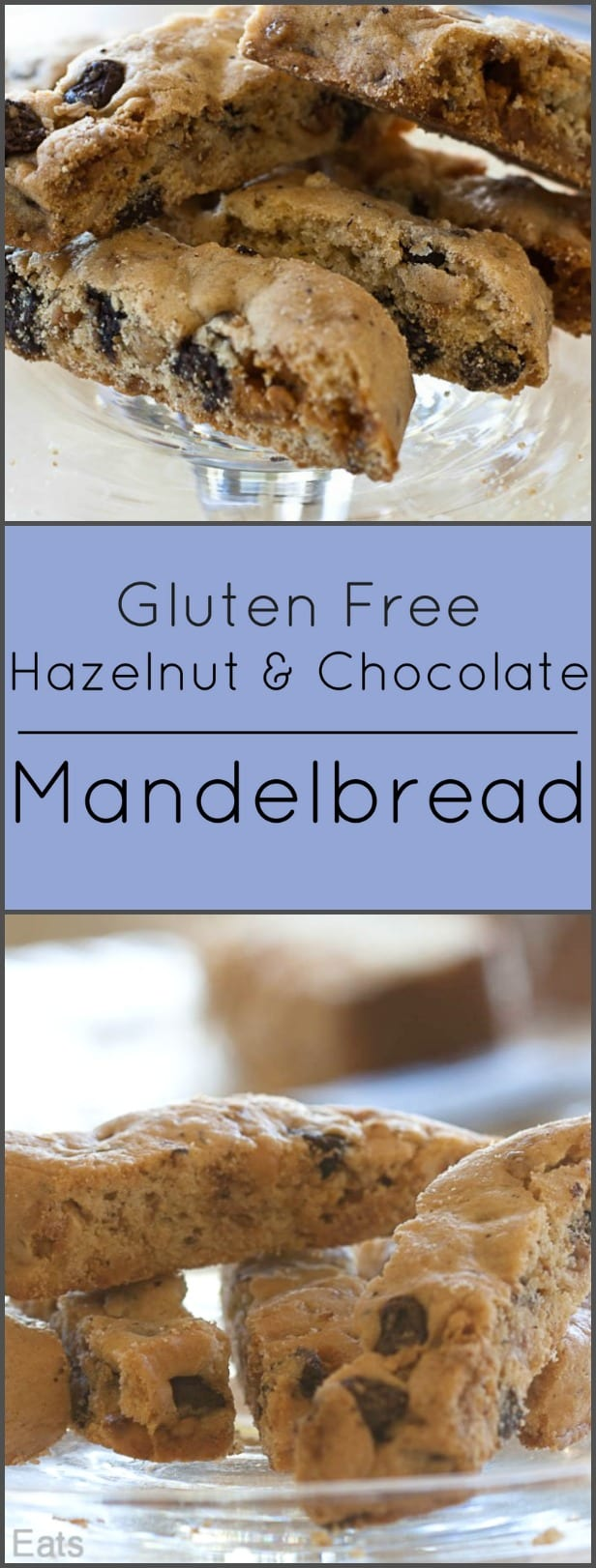 Gluten Free Mandelbread is filled with hazelnuts, white and dark chocolate chips and butterbrickle.