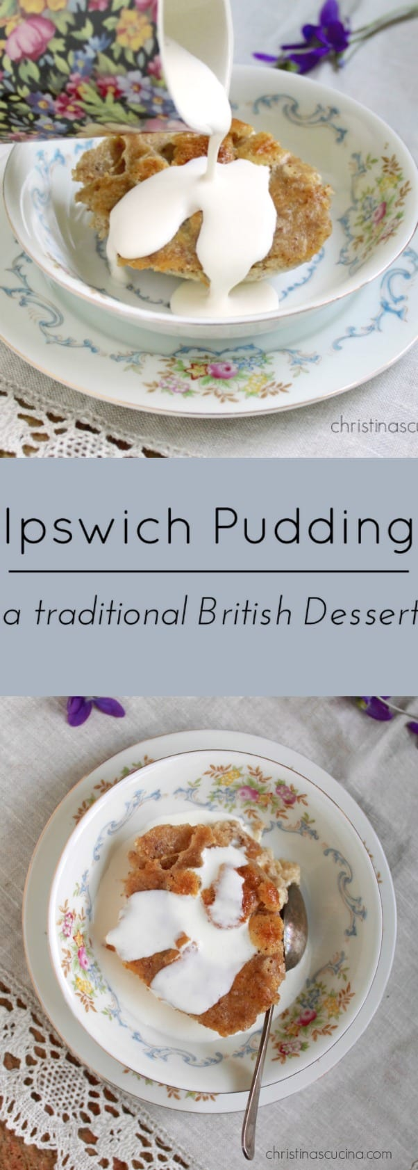 Ipswich Pudding; a traditional British Dessert with Almonds and Cream.