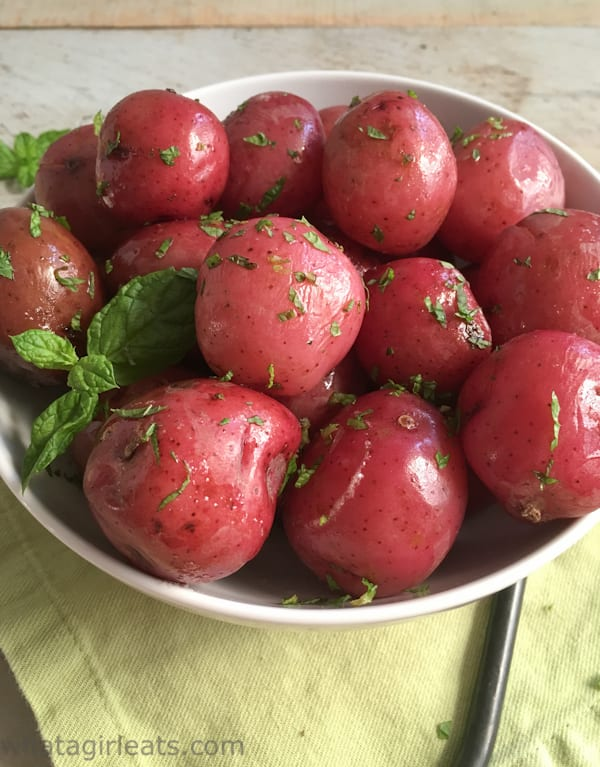 Minted New Potatoes are a great side dish. Gluten free.