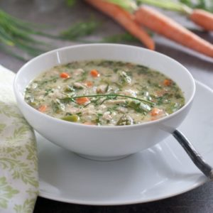 Greek Spring Soup with chicken and vegetables is gluten free and loaded with fresh vegetables.