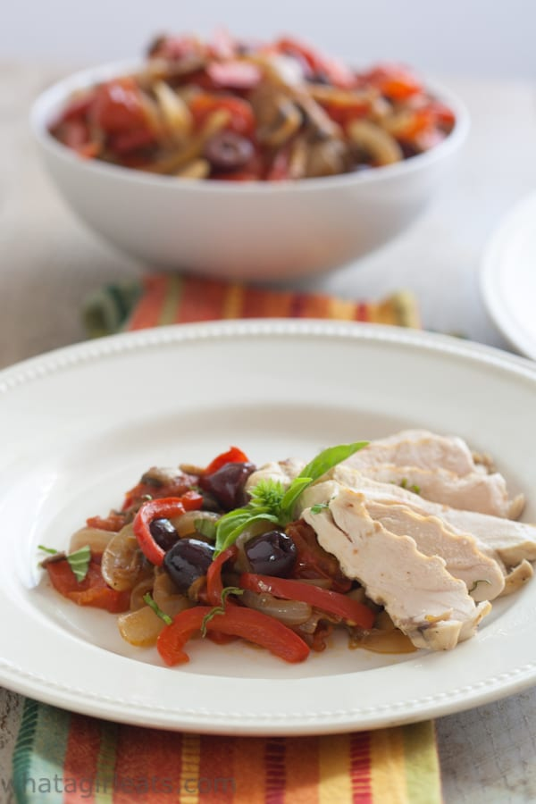 Mediterranean style vegetables are stir-fried for a quick and flavorful accompaniment to grilled chicken or beef.