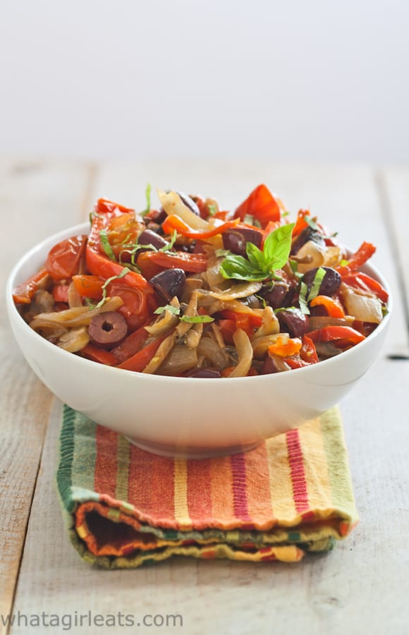 Mediterranean vegetables make a great side dish for any grilled meat, chicken or fish! Whole30 compliant.