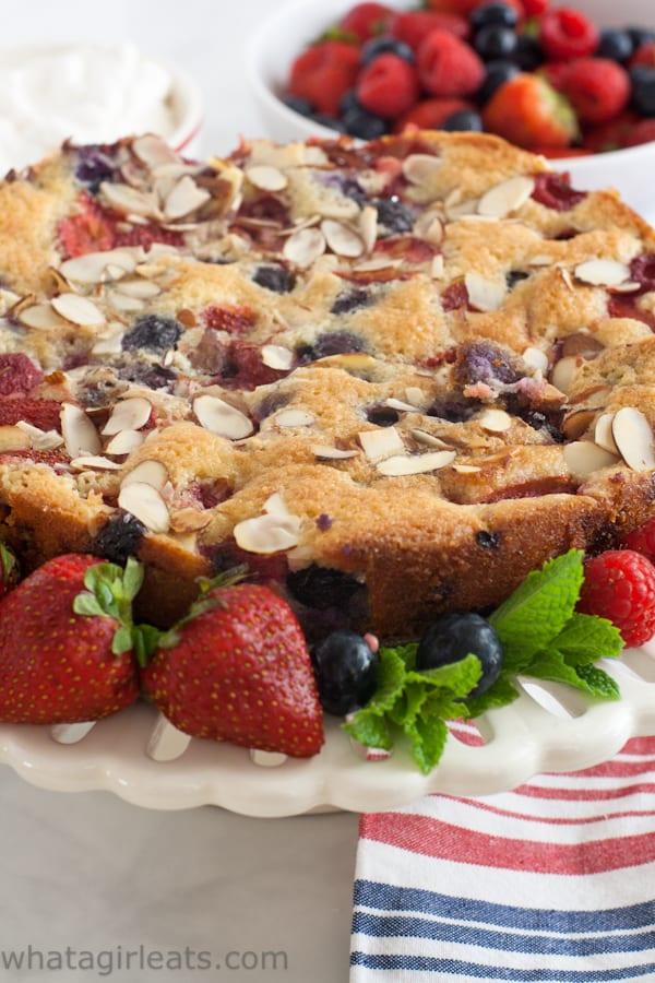 Grain free and gluten-free Fresh Berry cake.