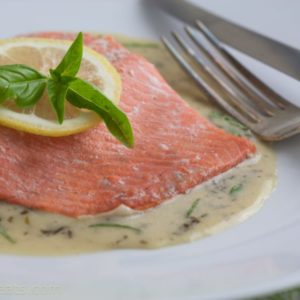 Salmon basil cream sauce.