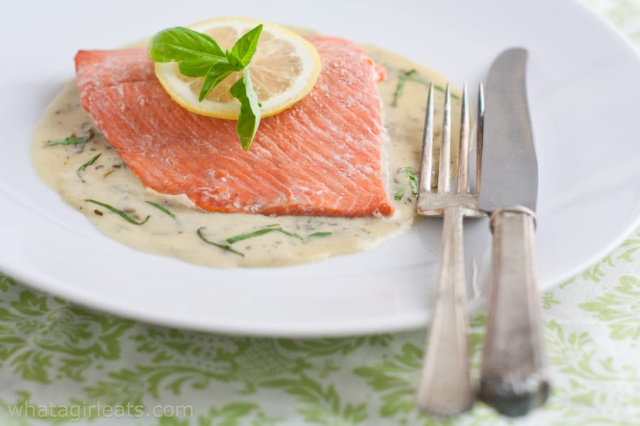 Salmon with Basil Cream Sauce is an Irish dish. It's also gluten free!