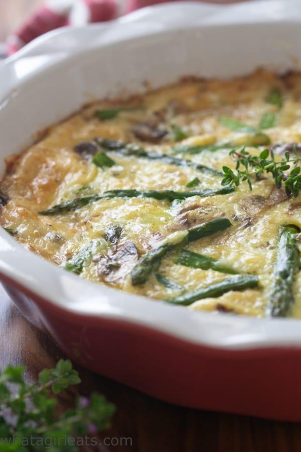 Asparagus Mushroom Crustless Quiche