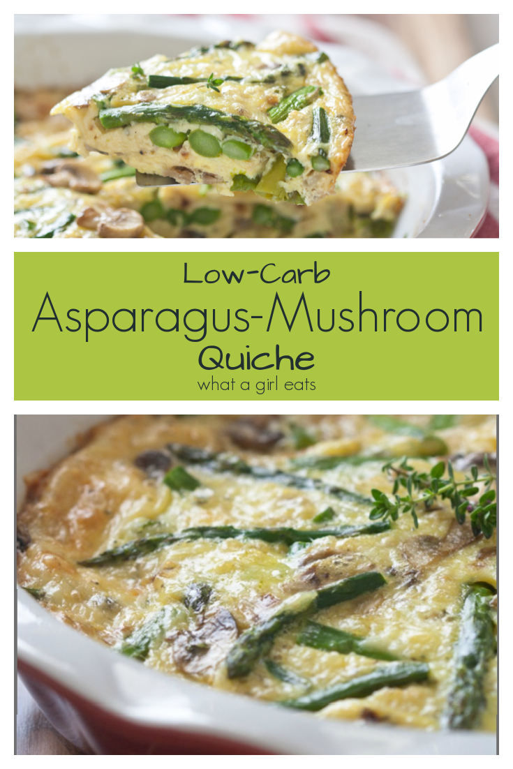 Asparagus and Mushroom Crustless Quiche is low-carb, keto and gluten free. #lowcarbrecipe #ketorecipe #easyrecipe #vegetarianrecipe #quicherecipe #asparagusrecipe #cheeserecipe