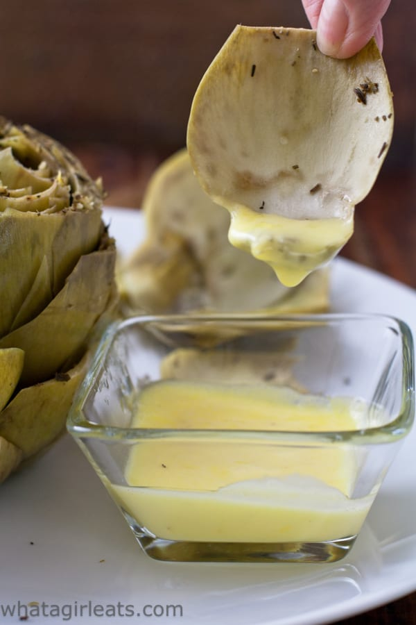 Artichoke leaf dipped in hollandaise